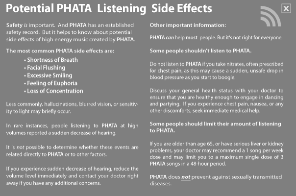 PHATA Safety Warning